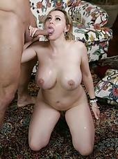 Winsome pornstar Raquel Sieb swallowing her favorite dagger and enjoying cum