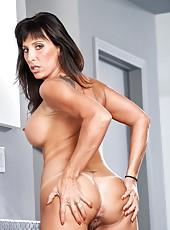 Obedient pornstar Lezley Zen posing and demonstrating her hot forms