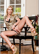 Divine flapper Tanya Tate posing in hot lingerie and showing round ass