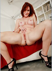Fancy hooker Catherine de Sade showing big tits and spreading wet snatch