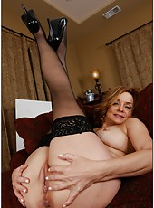Dazzling mature Rebecca Bardoux prefers posing naked and masturbating