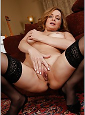 Dazzling mature Rebecca Bardoux prefers posing naked and masturbating
