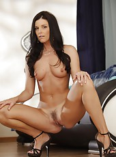 Seductive babe India Summer showing round ass and fingering on camera