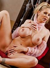 Astounding milf Julia Ann taking off her dress and masturbating hard