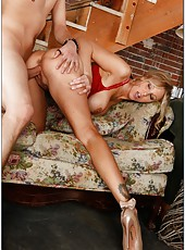 Unpredictable babe Julia Ann licking fingers and riding a huge dagger