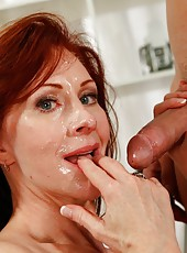 Happy coquette Catherine de Sade gets a cumshot after making a deepthroat