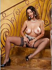 Carnal slut Persia Monir posing on the strairs and masturbating hard