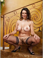 Carnal slut Persia Monir posing on the strairs and masturbating hard