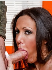 Elegant curve Amy Fisher seducing a young chap and enjoying his dick