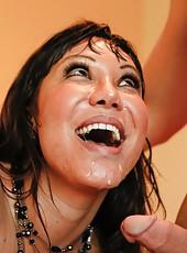 Spectacular milf Ava Devine making a deepthroat and reaching orgasm
