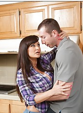 Stunning housewife Lisa Ann fucking with her new boyfriend in the kitchen