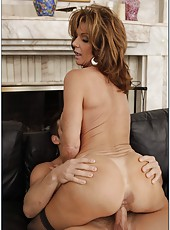 Plush mature Deauxma swallowing a delicious wiener and getting pounded