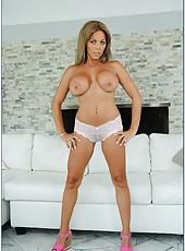 Snazzy model Amber Lynn Bach undressing and jilling precious sissy