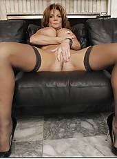 Flawless pornstar Deauxma rubbing big boobs and spreading axilla