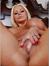 Amazing blonde Nikita Von James spreading shaved sissy and showing tits