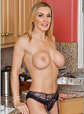 Winning harlot Tanya Tate loves posing in lingerie and masturbating