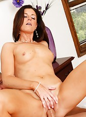 Small-boobed varmint India Summer taking off panties and getting nailed