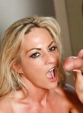 Zingy whore Sindy Lange showing a perfect blowjob and getting drilled