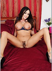 Radiant milf Ariella Ferrera posing all day long and showing hairy snatch