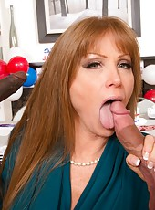 Cheeky mature Darla Crane swallowing a nice wiener and getting satisfied