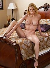 Sensate wife Alexa Styles undressing and trying to masturbate gently