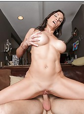 Jolly milf Raven LeChance fucking with her new friend at the kitchen