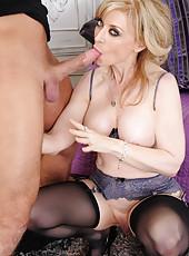 Seductive mature Nina Hartley enjoys yummy daggers and bangs with boys