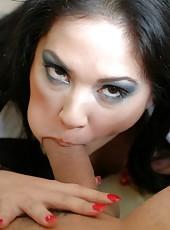 Elegant and horny brunette milf Reina Leone craves a tasty cock