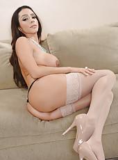 Playful pornstar Ariella Ferrera loves getting naked and fingering on camera