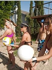 Group sex with Chanel Preston, Hunter Bryce, Kortney Kane and Sadie Swede