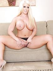 Blonde pornstars Alura Jenson and Karen Fisher riding big cock