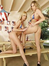 Skinny bikini models Samantha Saint and Victoria White riding hard cock