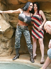 Outdoor threesome sex with busty milfs Charisma Cappelli and Lisa Lipps