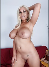 Superb pornstar Bridgette B is demonstrating her big tits in tight skirt