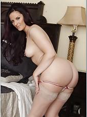 Dark haired milf pornstar Caroline Pierce is doing the best blowjob