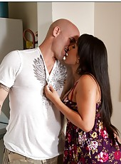 Dark haired pornstar Kayme Kai is showing her sex skills while fucking