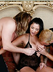 Group sex scene with outstanding milf beauty Sophia Lomeli and her friends