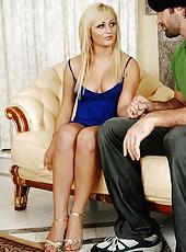 Marvelous blonde porn model Chloe Chanel is having her butt fucked