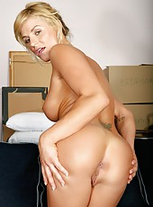 Gorgeous milf babe Brooke Belle has her shaved pussy pounded on sofa