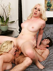 Shaved cunt of two milf ladies Adrianna Nicole and Lorelei Lee are fucked hard