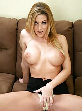 Sexy blonde milf with huge titties Lexi Lamour doing striptease