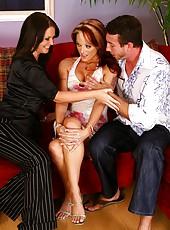 Threesome sex scene with two sexy milfs Maya Divine and Monica Mayhem