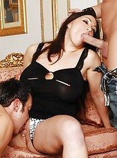Beautiful milfs with huge titties Carmel Moore and Cathy Barry love fucking