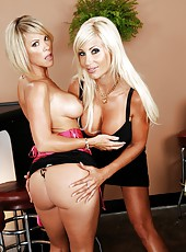 Sweet milf blondies Kayla Synz and Puma Swede having a threesome