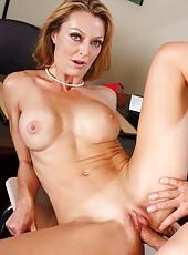 Fascinating milf in sweet lingerie Brenda James riding huge cock