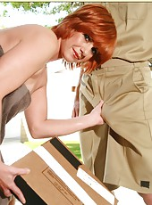 Fantastic milf with red hair Calliste is receiving strong orgasms