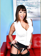 Sweet porn model with perfect forms Ava Devine enjoys hardcore sex on red sofa