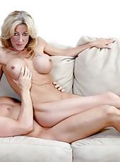Hardcore sex with busty porn model Lexi Carrington on a sofa