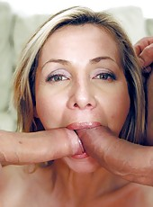 Big tits milf slut Lisa Demarco is sucking big cock of her new lover