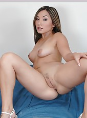 Ebedient hussy Roxy Jezel masturbating on bed and dreaming of a big rod